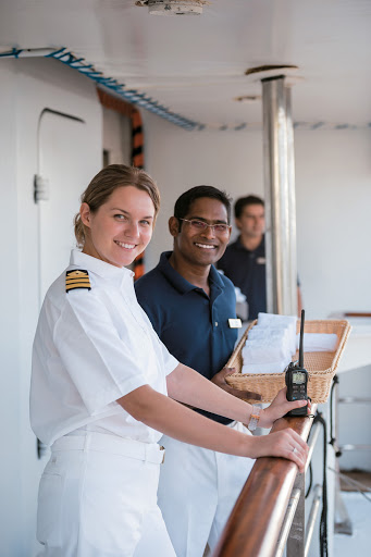 Crew members of Paul Gauguin Cruises' intimate ship m/v Tere Moana.