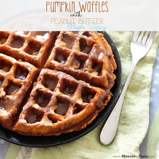 PUMPKIN WAFFLES WITH PEANUT BUTTER MAPLE SYRUP