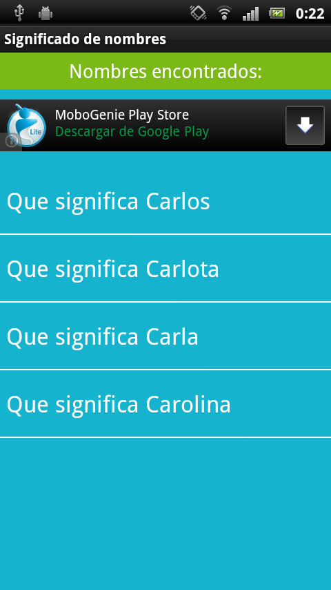 Significado de los nombres - screenshot