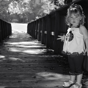 The Bridge by Tony Moore - Babies & Children Children Candids ( child, two, girl, female, black and white, creek, bridge,  )