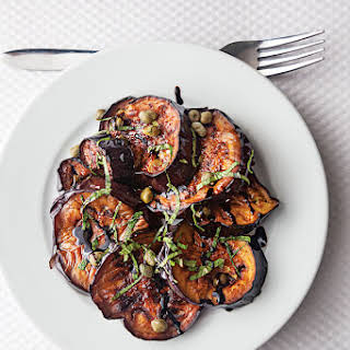 Pan-Fried Eggplant with Balsamic, Basil, and Capers.