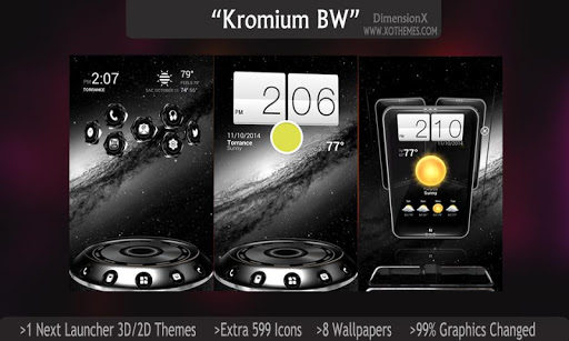 Next Launcher Theme Kromium BW