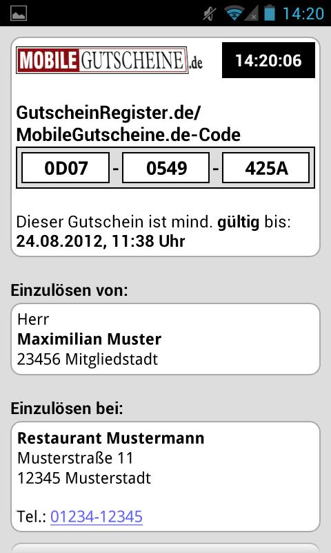 Mobile-Gutscheine.de- screenshot