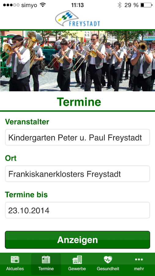 Freystadt App – Screenshot