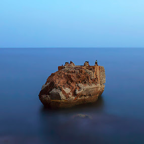 Lonely by Ashraf Ahmed Habib - Landscapes Waterscapes ( huge, antalya, blue, sunset, sea, rock, turkey, hour, seascape )