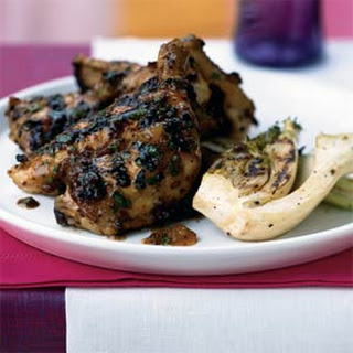 Grilled Cornish Hens with Apricot-Mustard Glaze.