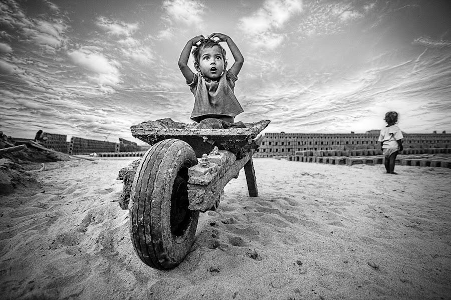    Amidst the Brick World    by Sankalan Banik - Black & White Street & Candid