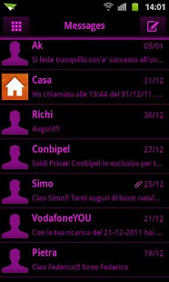 GO SMS Pink Black Neon Theme- screenshot thumbnail