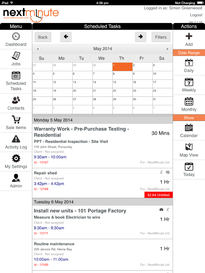 NextMinute - Job Management- screenshot