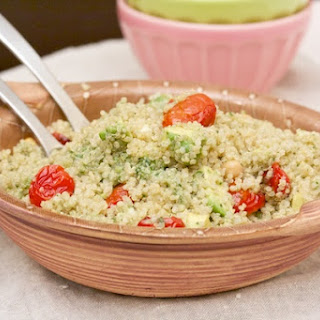 Quinoa with Roasted Tomatoes, Avocado, and Pesto.