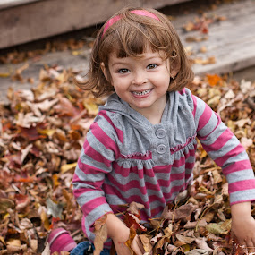 Falltime Fun by Jennifer Bacon - Babies & Children Children Candids ( girl, fall, play, candid, fun, leaves )
