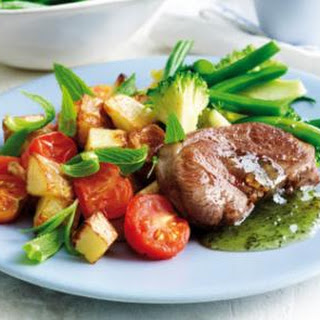 Minted Lamb With Roasted Garlic Potatoes.