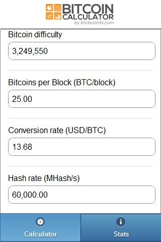 Bitcoin Calculator - screenshot