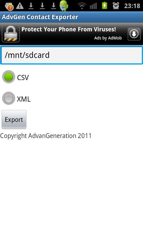 AdvGen Contact Exporter- screenshot
