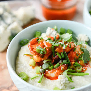 Crispy Buffalo Wing Shrimp with Blue Cheese Grits.