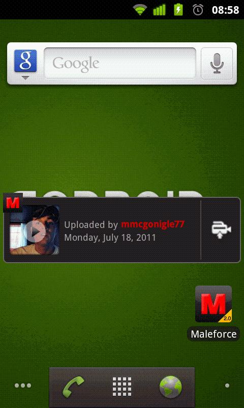 Maleforce Gay Video Widget - screenshot