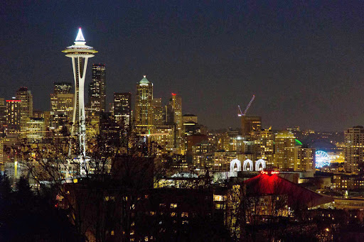 view-kerry-park-Seattle - A nighttime view of the Seattle skyline.