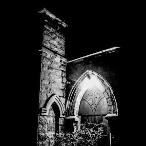 god exsist by Shashank Sharma - Black & White Street & Candid ( b&w, jesus, texture, night, architecture )