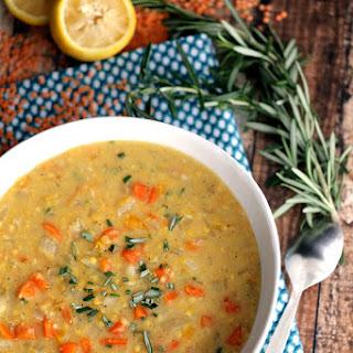 Slow Cooker Lemon Rosemary Lentil Soup.