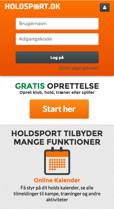 Holdsport- screenshot