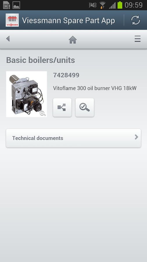 Viessmann Spare Part App - screenshot
