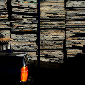 Pallets by Tom Hearn - Abstract Patterns ( car, abstract, contrast, shadow, pallets, light )