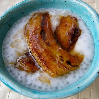 Coconut Tapioca Pudding With Cardamom And Caramelized Bananas.