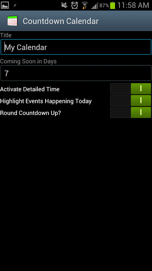 Countdown Calendar - screenshot