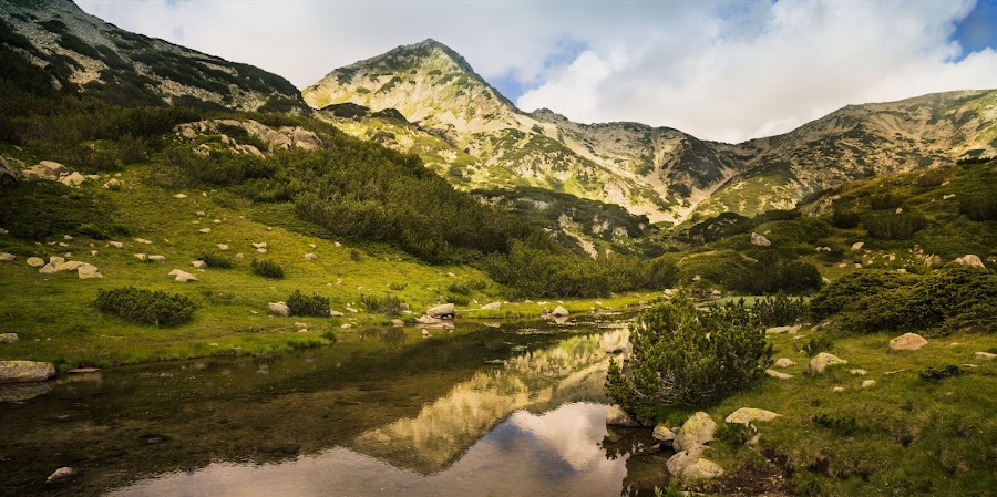 Pirin by Ева Йорданова - Landscapes Mountains & Hills ( clouds, reflection, mountains, lake, rocks,  )