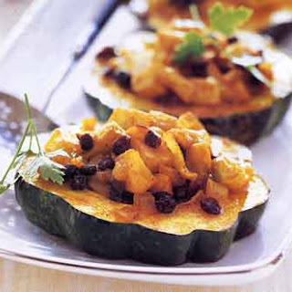 Apple-Filled Acorn Squash Rings with Curry Butter