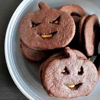 Chocolate Peanut Butter Jack-O-Lantern Cookies.