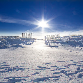 Blue Heaven by Jim DeMicco - Landscapes Beaches ( fence, sky, snow, beach, sun )