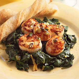 Pan-Seared Scallops with Ginger-Orange Spinach.