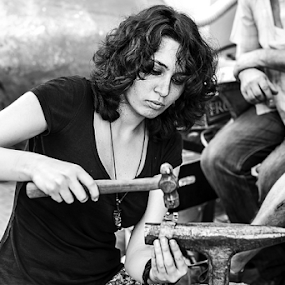 street delivery 2014, Bucharest by Dana Corina Popescu - People Professional People ( black and white, woman, fun, working )