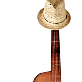 Chillaxe by Kim Wilson - Artistic Objects Musical Instruments ( studio, music, musical instrument, classical, wood, still life, guitar, pwc109, fedora, hat, object, musical, instrument )