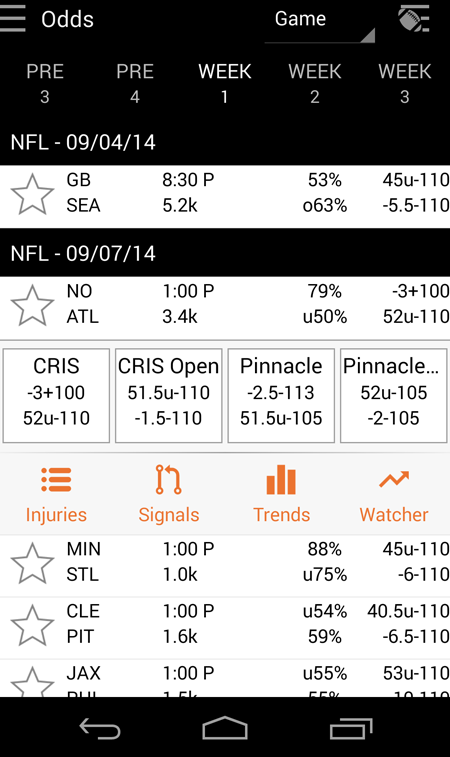 Odds - Sportsbook Vegas Lines - screenshot