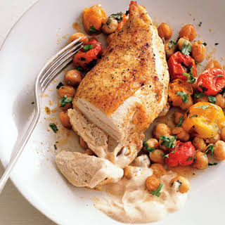 Roast Chicken Breasts with Garbanzo Beans, Tomatoes, and Paprika.