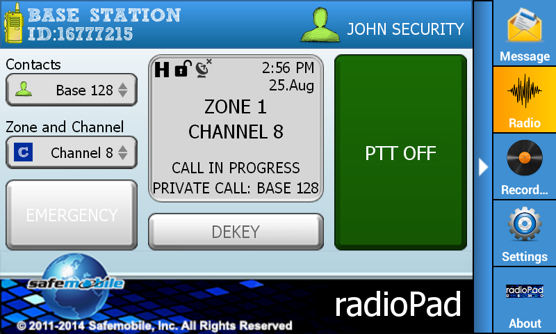 radioPad Demo - screenshot