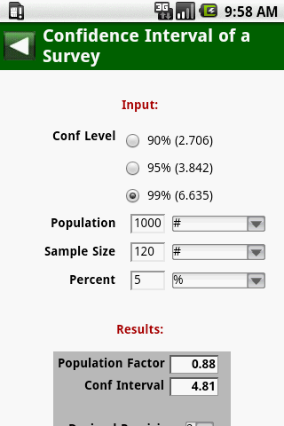MedCalc 3000 EBM Stats - screenshot