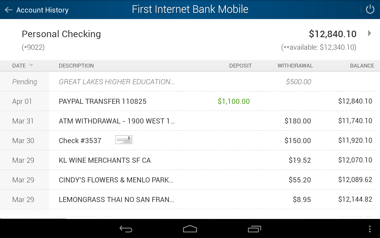 First Internet Bank Mobile- screenshot