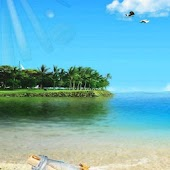 Beautiful Blue Sea Sky 3D