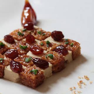 Foie Gras, Gingerbread, Floc de Gascogne Syrup Checkerboard.