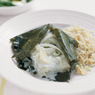 Halibut Wrapped in Grape Leaves