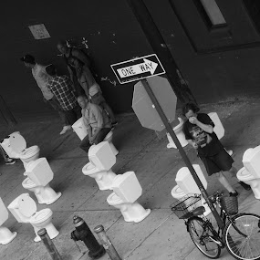 Toilets Galore  by VAM Photography - City,  Street & Park  Street Scenes ( cities, toilets, sidewalks, places, nyc )