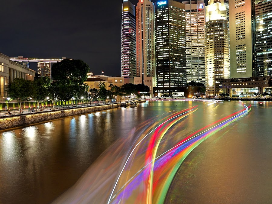 Colorful River by Barry Allan - City,  Street & Park  Night