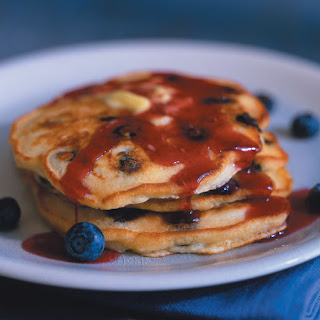Blueberry Pancakes with Boysenberry Syrup