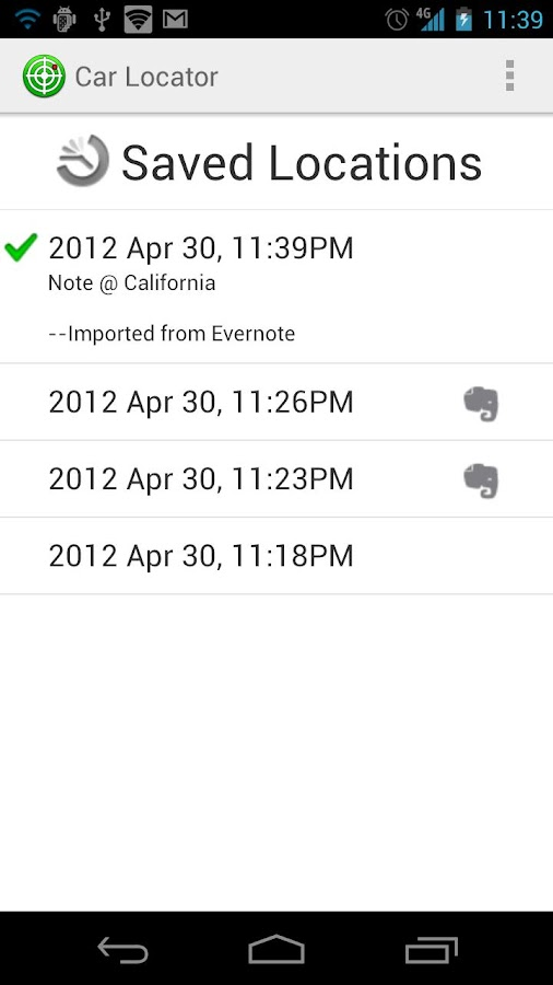 Car Locator Evernote Plugin- screenshot