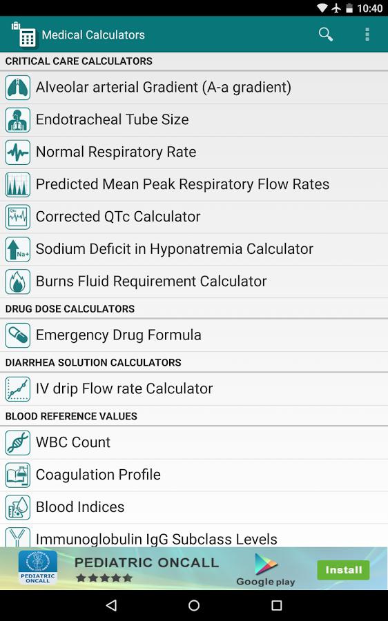 Medical Calculators - screenshot