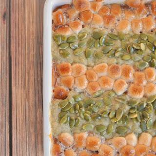 Sweet Potato Casserole with Cinnamon Marshmallows and Pepita Streusel