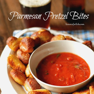 Homemade Parmesan Soft Pretzel Bites with Marinara Dipping Sauce